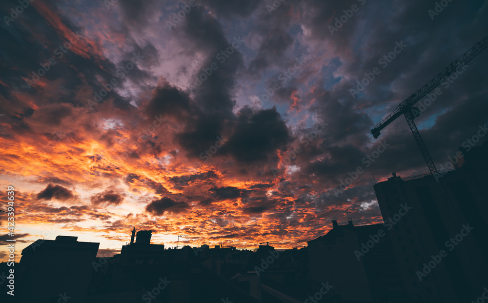 Fototapeta A stunning wide-angle urban scenery with a dramatic sunset in lilac and orange colors in the background and silhouettes of houses and a construction crane in the foreground of the cityscape
