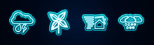 Set Line Cloud With Rain And Lightning, Pinwheel, Tornado Swirl And Snow. Glowing Neon Icon. Vector