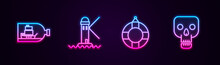 Set Line Bottle With Ship Inside, Lighthouse, Lifebuoy And Skull. Glowing Neon Icon. Vector