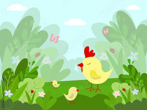 Fototapeta Vector children's cartoon illustration of a beautiful summer rural garden with cute chickens. Flat style. obraz