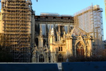 A Ray Of Sunlight In The End Of The Day At Notre Dame, During Its Recontruction. March 2021, Paris France.