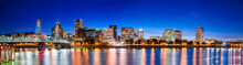 PORTLAND, OR - AUGUST 18, 2017: City Skyline And River Reflections At Night