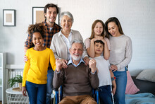 Extended Multiethnic Diverse Family With Children,grandparents And Parents