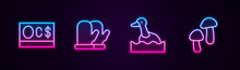 Set Line Canadian Dollar, Christmas Mitten, Flying Duck And Mushroom. Glowing Neon Icon. Vector