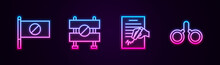 Set Line Protest, Road Barrier, Petition And Handcuffs. Glowing Neon Icon. Vector