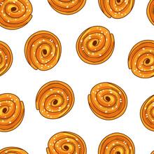 Cinnamon Buns On A White Background Seamless Pattern. Freshly Baked Sweet Cake. Cartoon Vector Illustration.
