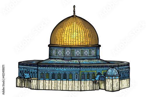 Fototapeta Al-Aqsa Mosque, Dome of the Rock - vector illustration obraz