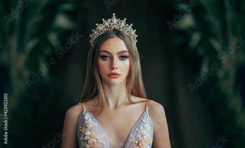 Fotografia, Obraz Portrait of fantasy medieval girl princess in dark gothic room