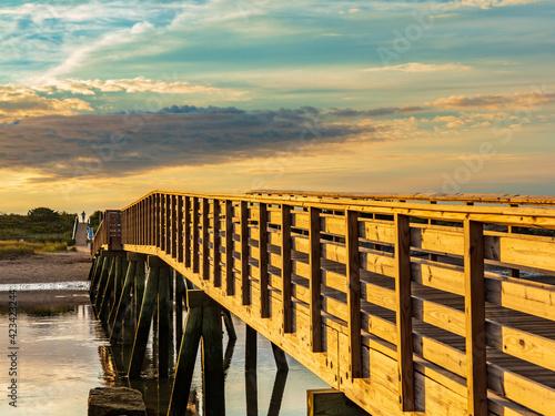 Fotografia, Obraz Maine-Ogunquit-Ogunquit River and Footbridge