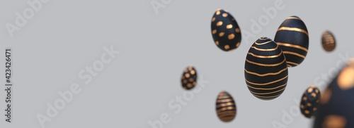 Fototapeta Bannière - œufs de pâques avec effet de focus - rendu 3D