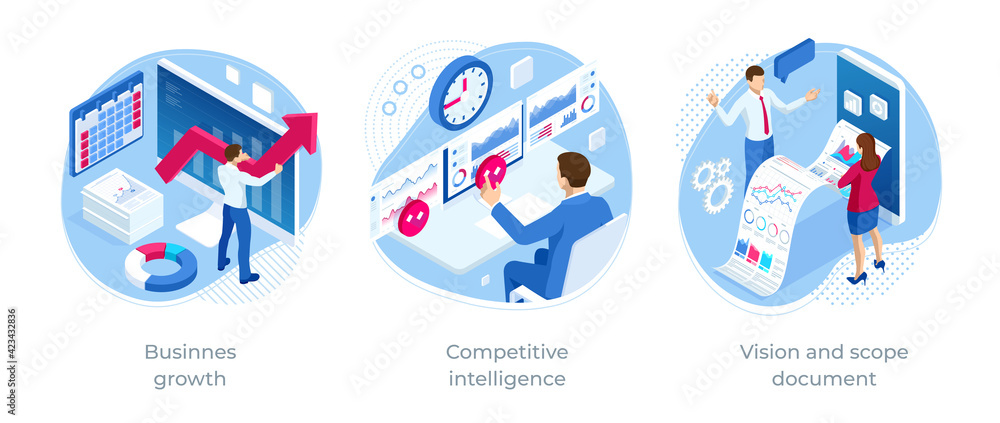 Fototapeta Isometric Vision and scope document, Competitive intelligence, Businnes growth. Expert team for Data Analysis, Business Statistic, Management, Consulting, Marketing.
