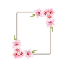 Spring Floral Border. Cherry Blossoms Pink Flowers Frame, Flower Branches Vector Frame Illustration, Tree Blossom Flowers Border Template. Pink Cherry Blossom Branches, Buds On Twigs.