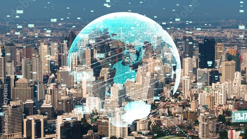 Canvas Print Global connection and the internet network modernization in smart city