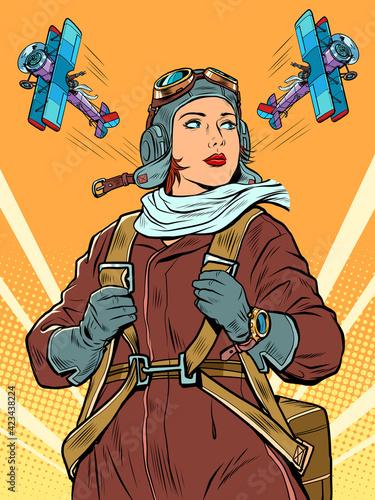Obraz female retro pilot. professional military pilot Pop art retro illustration - fototapety do salonu