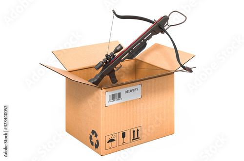 Foto Crossbow inside cardboard box, delivery concept. 3D rendering