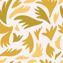 Vector Hand Drawn Seamless Pattern Cute Design. Yellow, Brown, Golden Color Shapes