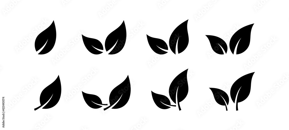 Fototapeta Black leaves icon set isolated on white background. Eco leaves. Eco, bio sign logo.  Health care. Nature art. Vegeterian and vegan signs and sumbols. Different leaves shapes. Vector graphic.
