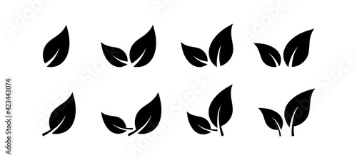 Black leaves icon set isolated on white background. Eco leaves. Eco, bio sign logo. Health care. Nature art. Vegeterian and vegan signs and sumbols. Different leaves shapes. Vector graphic.