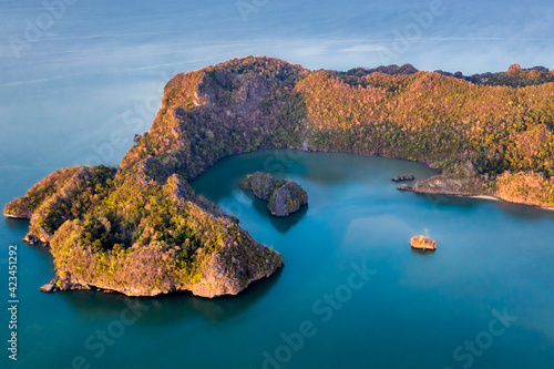 Canvas Langkawi Malaysia aerial ocean cove during the morning golden hours