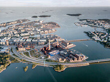 Industrial District Of Helsinki Finland With Processing Factory, Shipping Lanes, Highway And Ocean Waterways