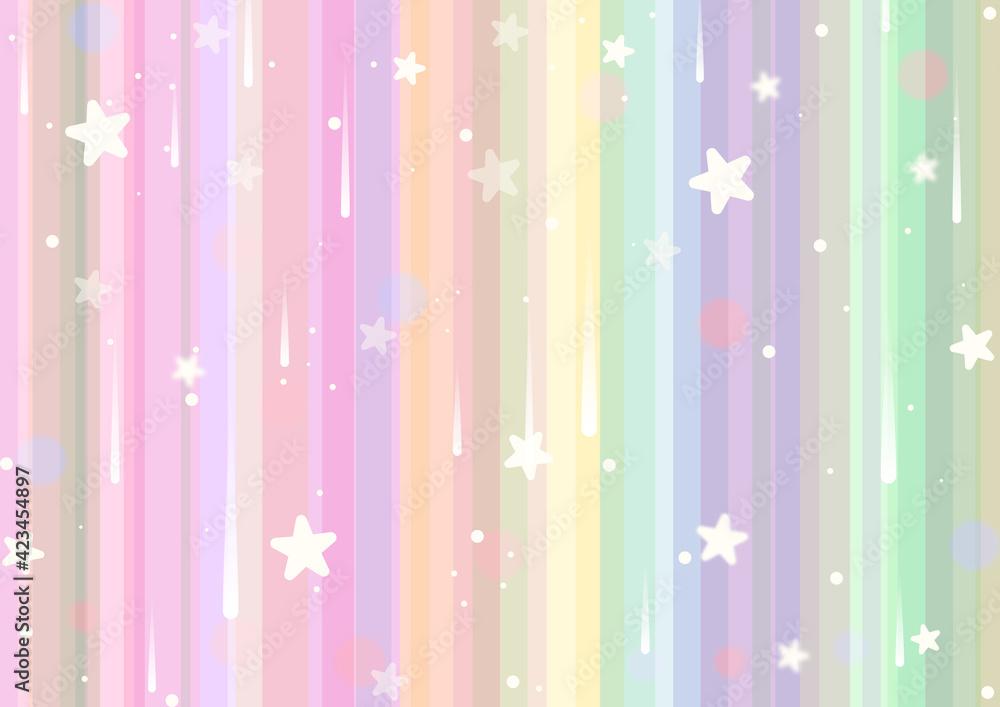 Fototapeta Tęczowe, jasne tło w pastelowych odcieniach, z gwiazdkami i efektem bokeh.