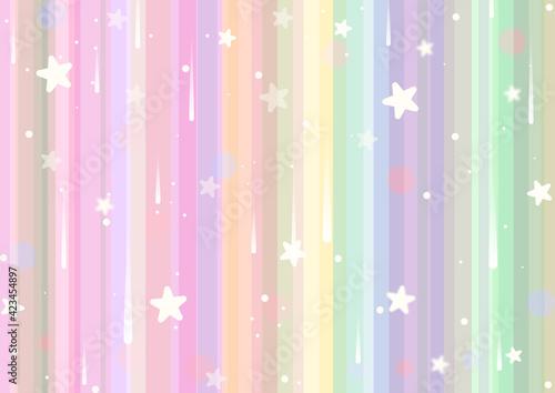 Tęczowe, jasne tło w pastelowych odcieniach, z gwiazdkami i efektem bokeh.