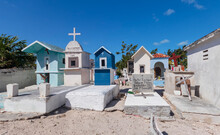 Colorful And Elaborate Monuments In A Mexican Cemetery. People Of Limited Means Ensure That Their Loved Ones Are Honored After Death.