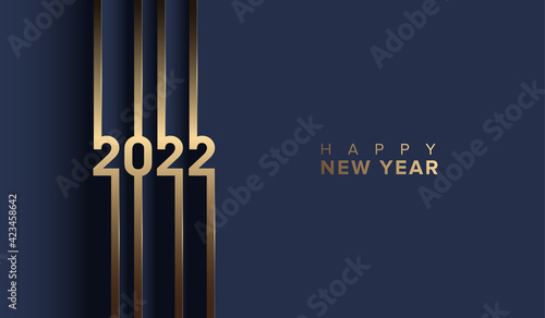 2022 happy new year with golden number on blue background