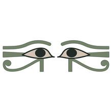 Two Ancient Egyptian Eyes. Wadjet. Sacred Symbol Of God Horus Or Goddess Maat.