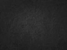 Black Background Texture, Old Vintage Black Paper With Wrinkled Grunge Texture