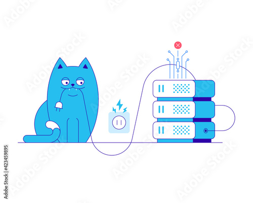 Server error and cat vector illustration