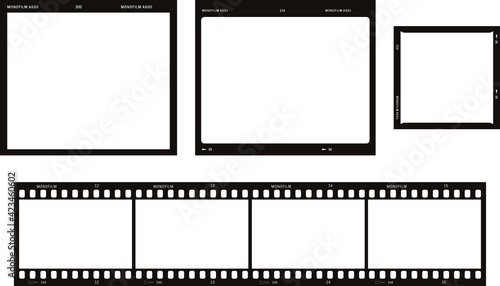 Fototapeta Photo and movie film blank frame illustrations set. obraz