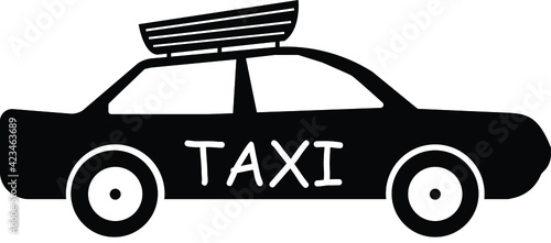 Fotografia, Obraz Taxi icon vector side view with load carrier