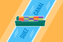 Massive Cargo Container Ship Vessel Stuck In Suez Canal Flat Vector Illustration. Can Be Used For Digital And Printable Illustrative Infographic.