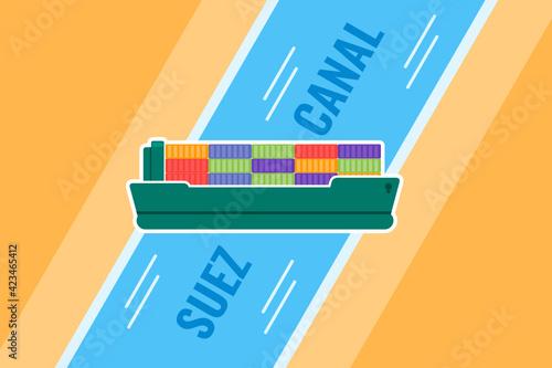Fototapeta Massive Cargo Container Ship Vessel Stuck in Suez Canal Flat Vector Illustration