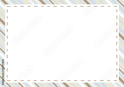 Obraz ステッチフレーム シックカラー ストライプ 背景  - fototapety do salonu