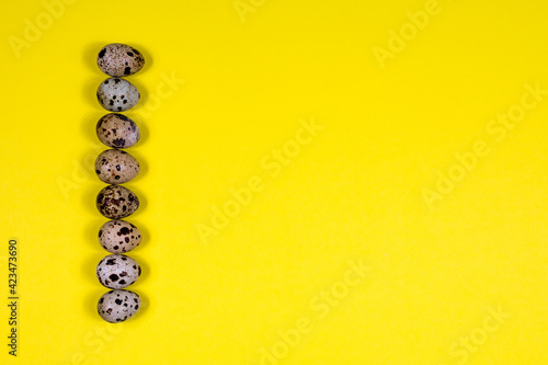 Fototapeta Quail eggs lie in a row on a yellow background. Healthy eating. View from above. Place for an inscription. obraz