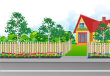 Landscape With A Small House Surrounded By Garden, With A Wooden Fence And A Grill Gate In A Realistic Style. Vector Illustration.