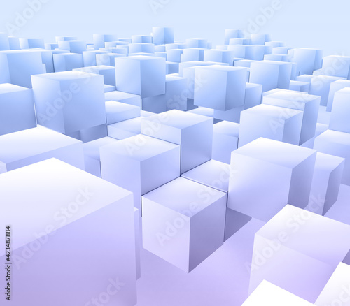 3D modern abstract background with floating cubes