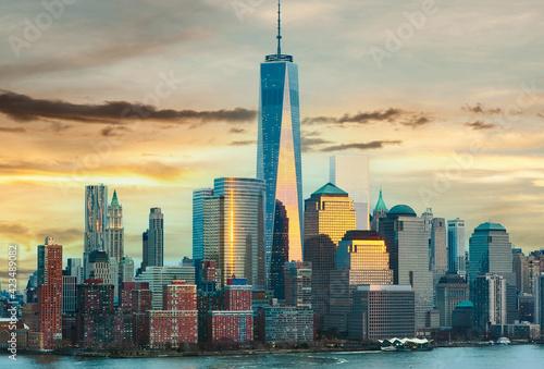 Fototapeta New York City Manhattan skyline at sunset