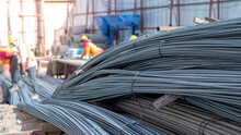 Construction Steel Rods Or Bars Work Reinforcement In Conncrete Structure Of Building.Background Texture Of Steel Rods Or Bars Used In Construction To Reinforce Concrete