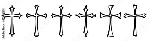 Canvas Print Vector collection of black ink or paint religion or faith cross symbol set isolated on white background