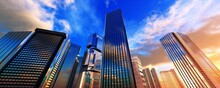 Beautiful Modern High-rise Buildings Against The Sky With Clouds During Sunset, Skyscrapers And Sky,, 3D Rendering