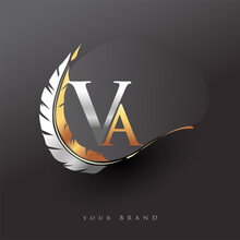 Initial Letter VA Logo With Feather Gold And Silver Color, Simple And Clean Design For Company Name. Vector Logo For Business And Company.