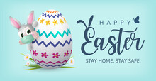 Happy Easter Banner With Bunny Wearing Face Mask And Colourful Painted Egg. Vector