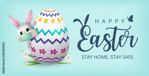 Obraz Happy Easter Banner with Bunny wearing face mask and Colourful Painted Egg. Vector - fototapety do salonu