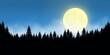 canvas print picture - Hintergrund Panorama Nacht Silhouette schwarz Wald düster dunkel Mond Schein hell Nebel blau Wolken Halloween Abend Aufgang Untergang Vollmond leuchten scheinen Banner Natur mystisch geheimnisvoll