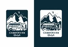 Dark Blue Color Of Campervan Lifestyle Illustration