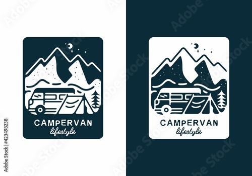 Fototapeta Dark blue color of campervan lifestyle illustration