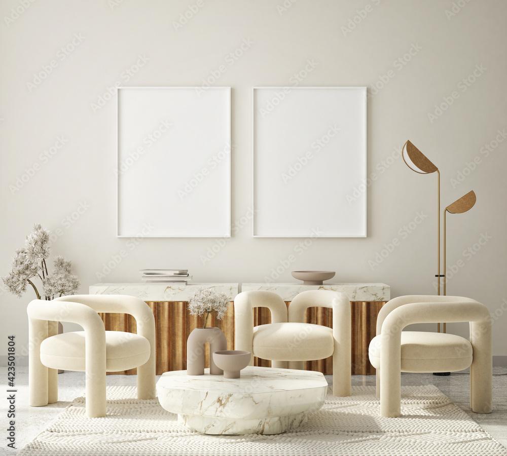 Fototapeta mock up poster frame in modern interior background, living room, Art Deco style, 3D render, 3D illustration